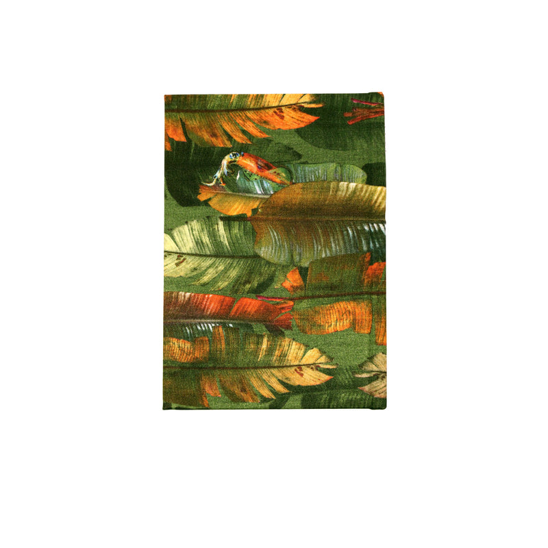 Back emerald banana leaf print luxury silk tencel covered notebook by leila Vibert-Stokes