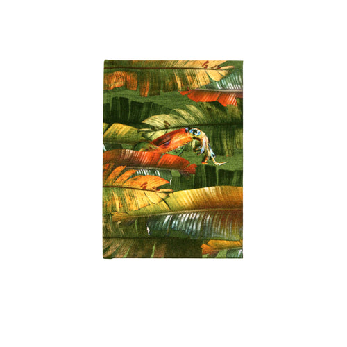 Front view emerald banana leaf print luxury silk tencel covered notebook by leila Vibert-Stokes