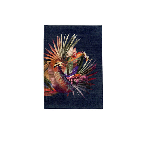 Front navy tropical palm leaf print luxury silk notebook by Leila Vibert-Stokes