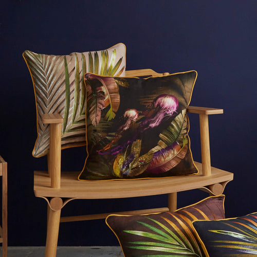 Brown tropical jungle palm leaf with jelly fish sustainable linen scatter cushion by Leila Vibert-Stokes