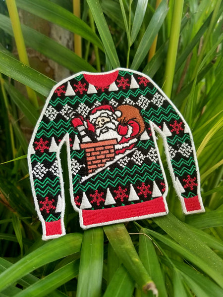 PhotonPhreaks Ugly Sweater Christmas Morale Patch - Flashlight and Santa Flashlight embroidered patch - PhotonPhreaks