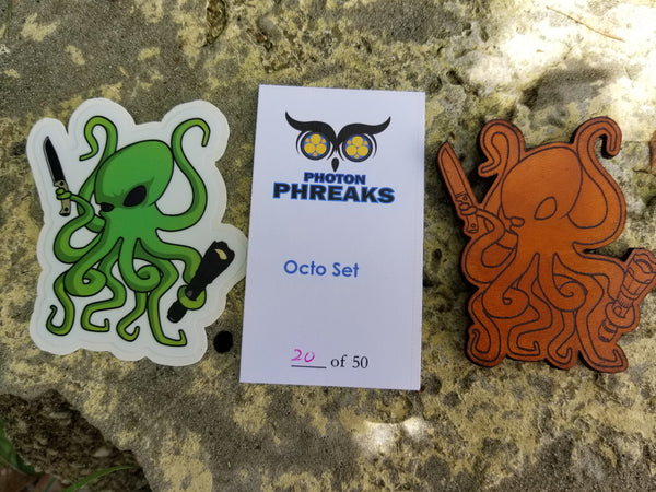 Octo Leather Patch and Sticker Set