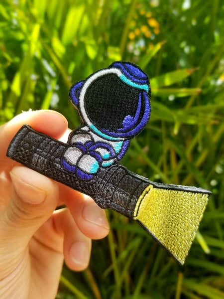 PhotonPhreaks Flash-tronaut Velcro Backed Embroidered Astronaut Flashlight Morale Patch - PhotonPhreaks
