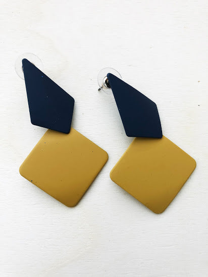 Asymmetrical blue and yellow earrings