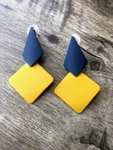 Load image into Gallery viewer, Asymmetrical blue and yellow earrings