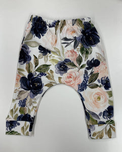 Navy Rose Floral Leggings