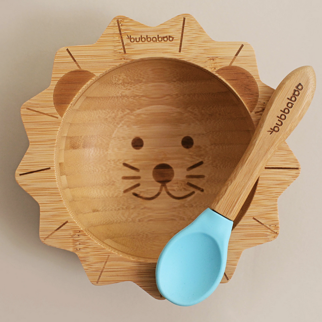 Bamboo Lion Bowl & Spoon Set
