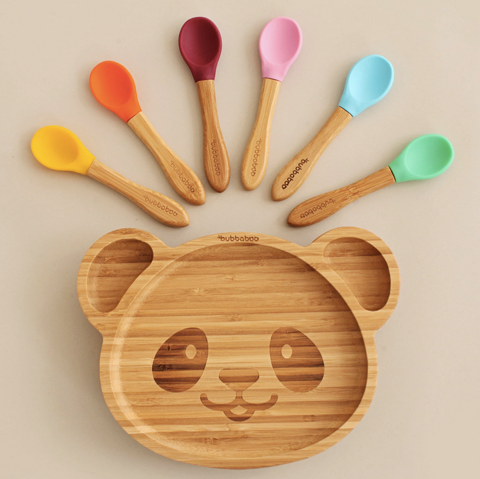 Bamboo Panda Plate & Spoon Set