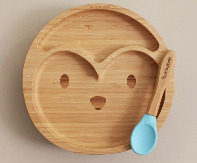 Bamboo Penguin Plate & Spoon Set