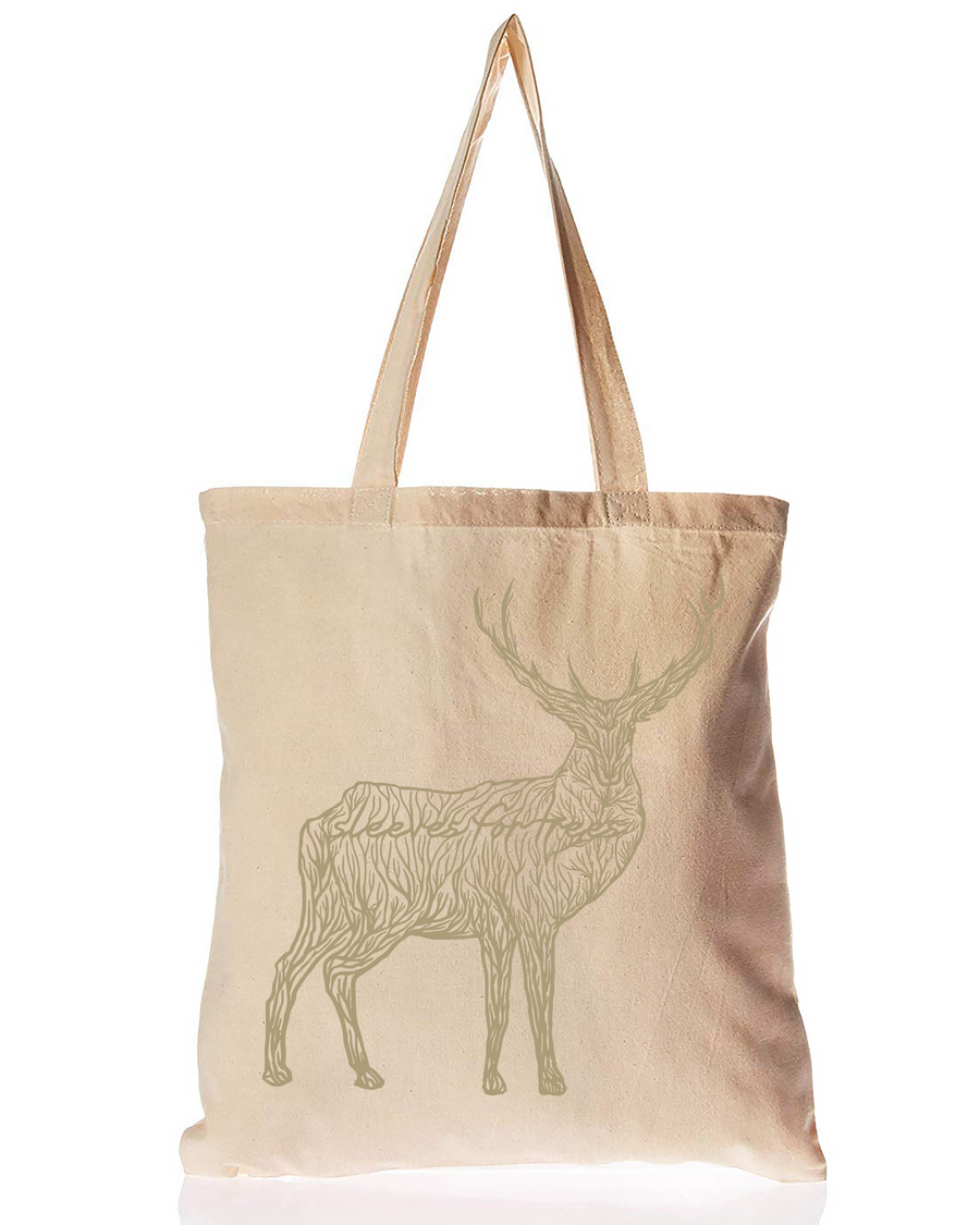 Organic Cotton Tote Bag Majestic Golden Deer