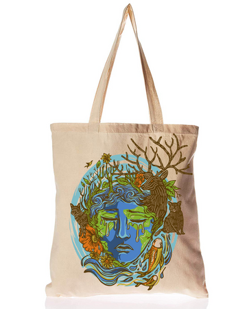 Organic Cotton Tote Bag Weeping Mother Earth