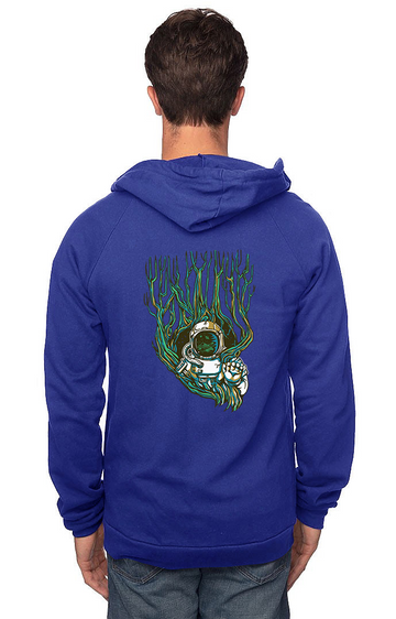 Sleeves for Trees Collection on Organic Cotton Hoodie Astronaut Tree