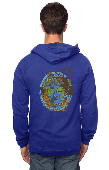 Sleeves for Trees Collection on Organic Cotton Hoodie Weeping  Mother Earth