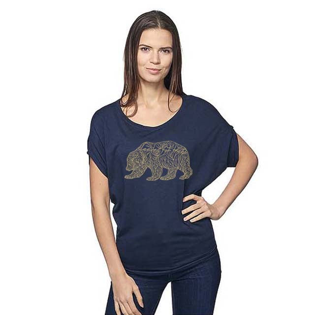 Women's Viscose Organic Bamboo & Organic Cotton Off Shoulder Top Midnight Golden Bear