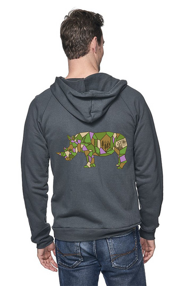 Sleeves for Trees Collection on Organic Cotton Hoodie Rhino