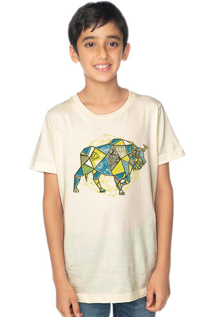 Organic Cotton Youth Short Sleeve Crew Tee Geometric Bison