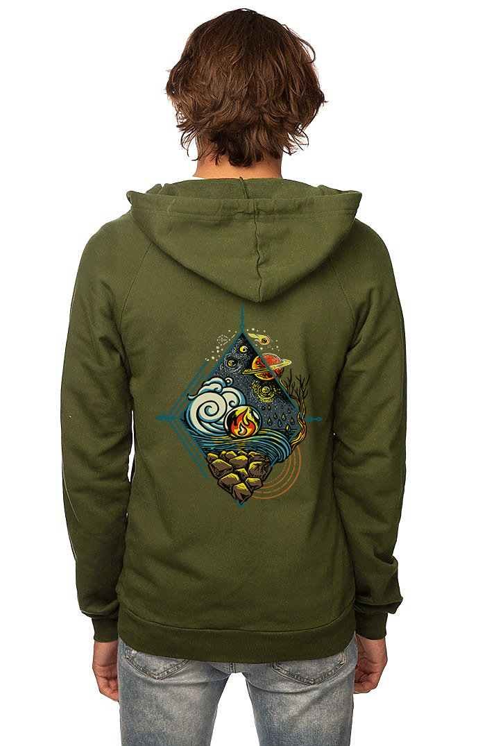 Sleeves for Trees Collection on Organic Cotton Hoodie 5 Elements
