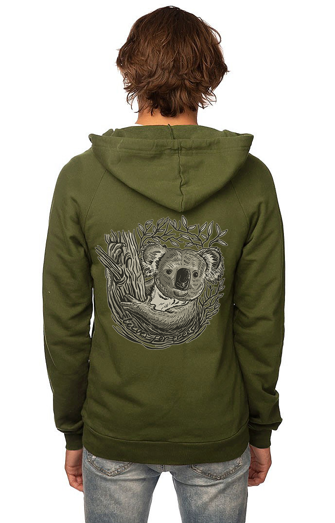 Sleeves for Trees Collection on Organic Cotton Hoodie Koala
