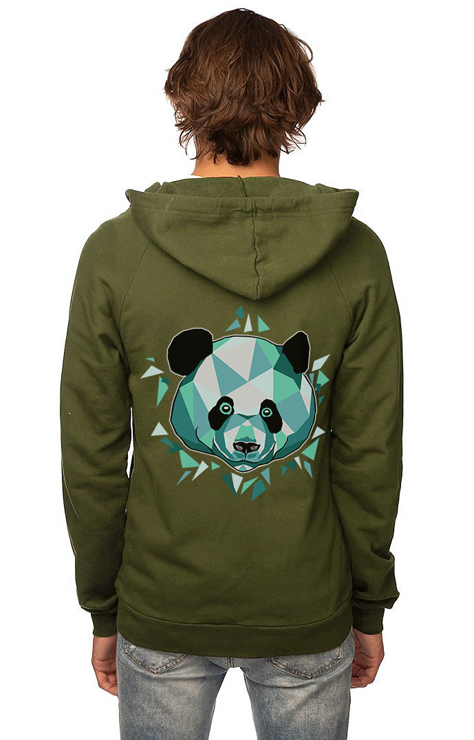 Sleeves for Trees Collection on Organic Cotton Hoodie Blue Giant Panda