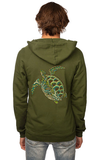 Sleeves for Trees Collection on Organic Cotton Hoodie SFT Green Sea Turtle