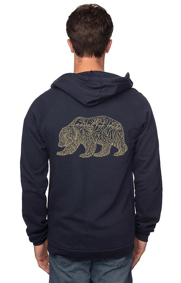 Sleeves for Trees Collection on Organic Cotton Hoodie SFT Golden Bear