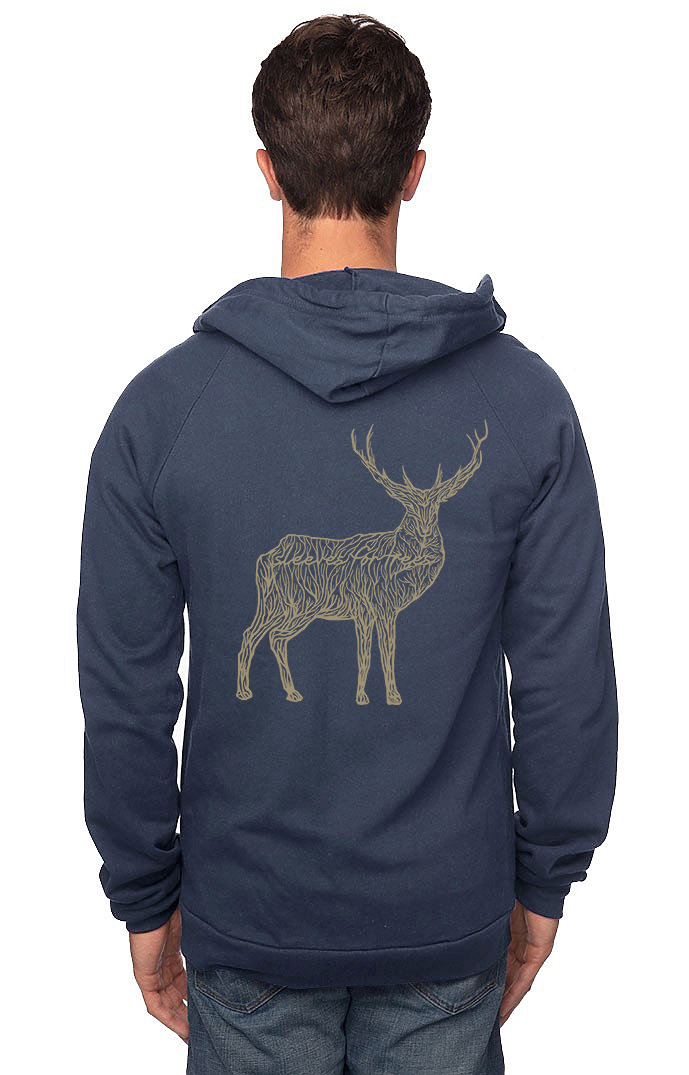 Sleeves for Trees Collection on Organic Cotton Hoodie SFT Majestic Golden Deer
