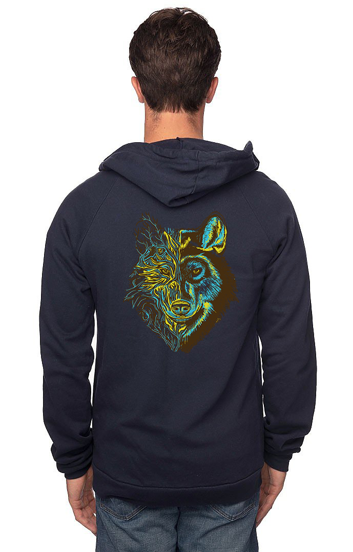 Sleeves for Trees Collection on Organic Cotton Hoodie Dire Wolf