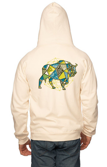 Sleeves for Trees Collection on Organic Cotton Hoodie Geometric Bison