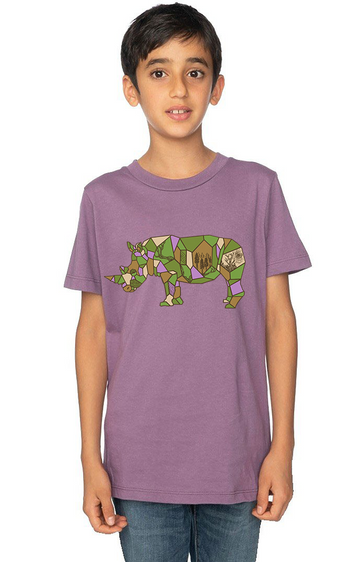 Organic Cotton Youth Short Sleeve Crew Tee Rhinoceros