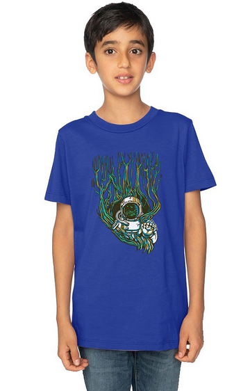 Organic Cotton Youth Short Sleeve Crew Tee Astronaut Tree