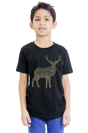 Organic Cotton Youth Short Sleeve Crew Tee SFT Majestic Golden Deer