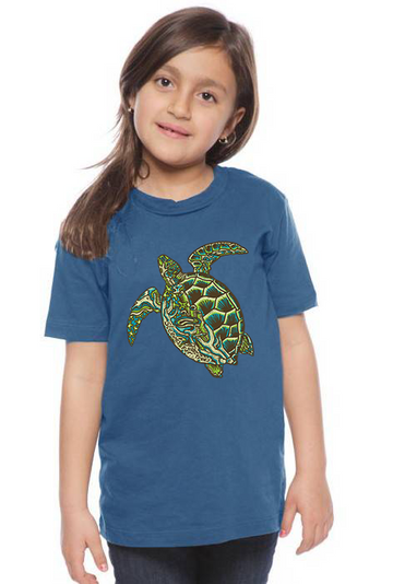 Organic Cotton Youth Short Sleeve Crew Tee SFT Green Sea Turtle