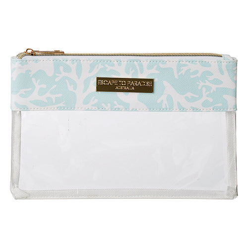 Clear Flat Rec Travel Case Coral Aqua