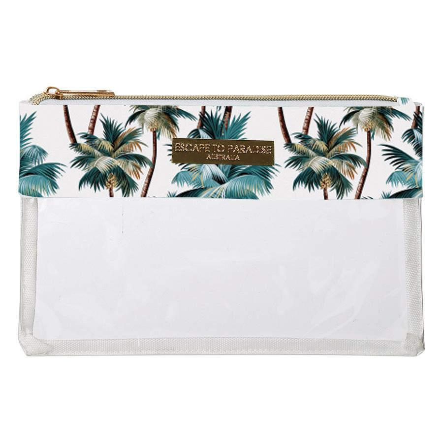 Clear Flat Rec Travel Case Palm Trees White