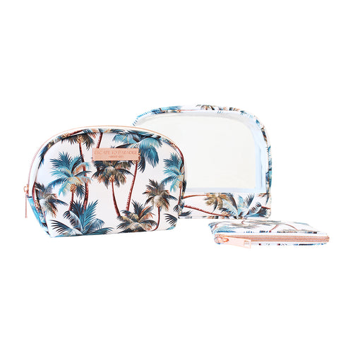 Saffiano Clear Oval Cos Bag Set of 3 Palm Trees White