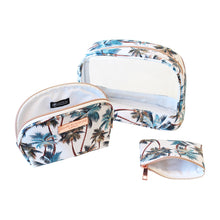 Load image into Gallery viewer, Saffiano Clear Oval Cos Bag Set of 3 Palm Trees White