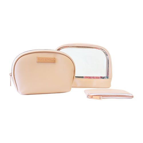 Saffiano Clear Oval Cos Bag Set of 3 Peach