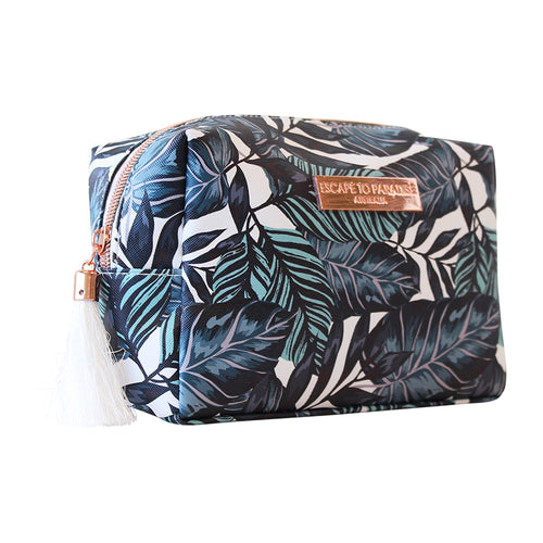 Saffiano Rectangle Boxy Cosmetic Bag Atoll