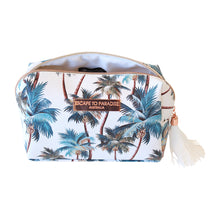 Load image into Gallery viewer, Saffiano Rectangle Boxy Cosmetic Bag Palm Trees White