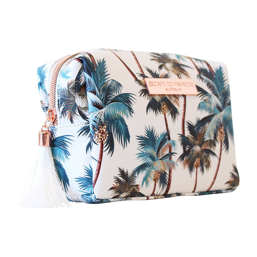 Saffiano Rectangle Boxy Cosmetic Bag Palm Trees White