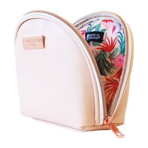 Saffiano Small Curved Cosmetic Bag Peach