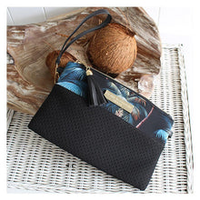 Load image into Gallery viewer, Neoprene Clutch Bag Palm Trees Black