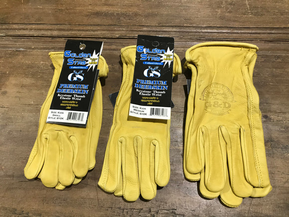 Work Glove, Deerskin, Kid Size