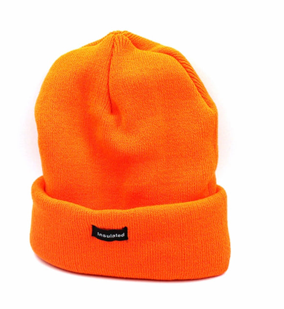 Insulated Orange Knit Cuffed Hat
