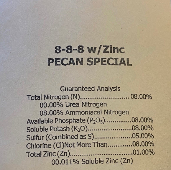 FERTILIZER Pecan 8-8-8 with Zinc, 50lb