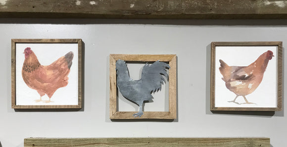 Hen Print with Wood Frame