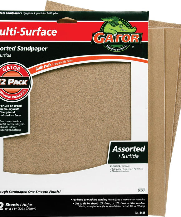 Sandpaper, Multi-Surface Assorted, 12pk