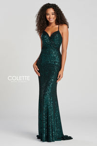 Amazing evening gown Colette for Mon Cheri stretch glitter sheath dress, slight sweetheart neckline and a low back with a strappy bandeau.