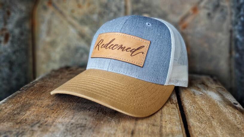 Redeemed heather gray/Amber/gold cream cap/Tan leather