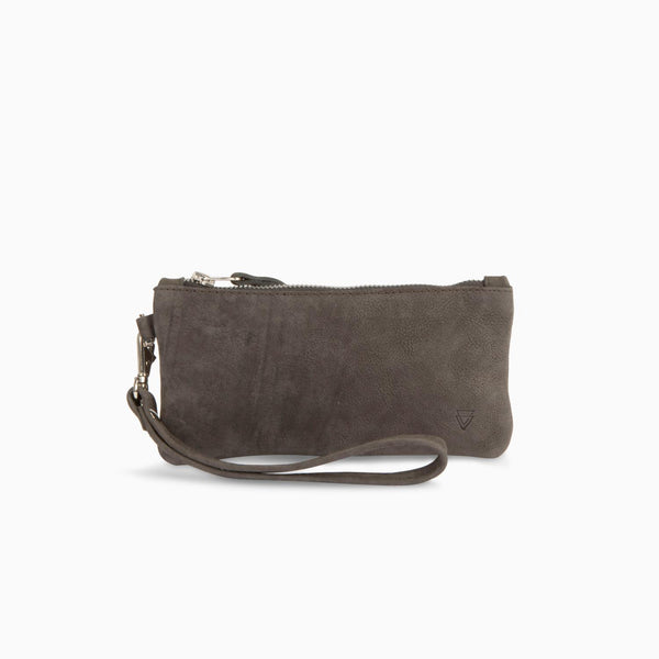 Zip Clutch Nubuck Grey